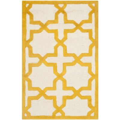 Martins Ivory/Gold Area Rug Rug Size: Rectangle 26 x 4