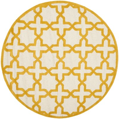 Martins Ivory/Gold Area Rug Rug Size: Round 6