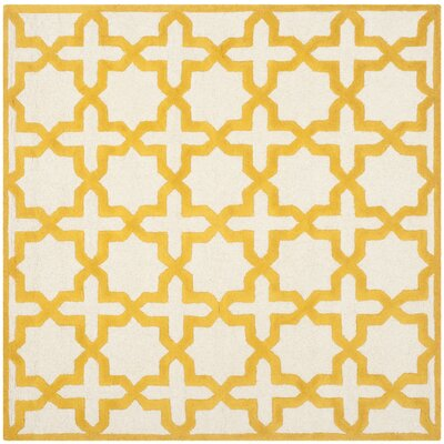 Martins Ivory/Gold Area Rug Rug Size: Square 6
