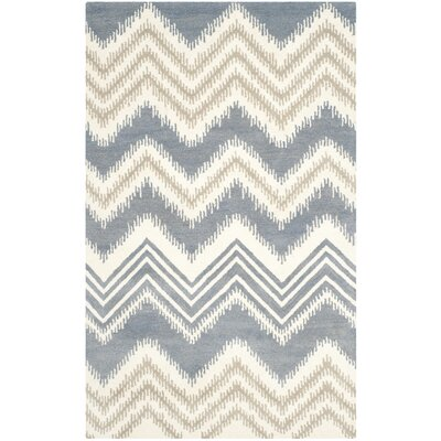 Hodges Blue/Ivory Area Rug Rug Size: Rectangle 5 x 8