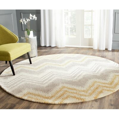Hodges Gray/Gold Area Rug Rug Size: Round 7