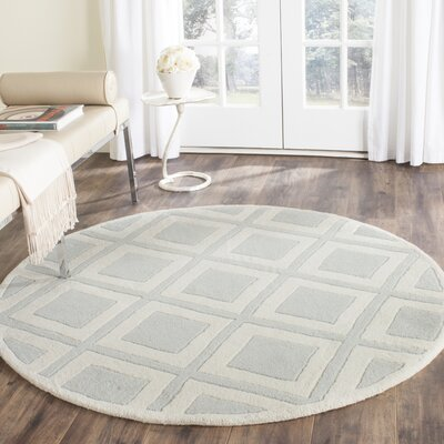 Wilkin Gray/Ivory Area Rug Rug Size: Round 5
