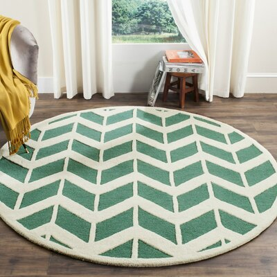 Martins Teal/Ivory Area Rug Rug Size: Round 6