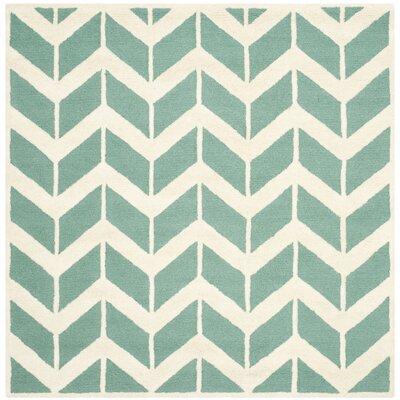 Martins Teal/Ivory Area Rug Rug Size: Square 6
