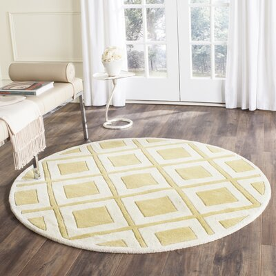 Wilkin Gold/Ivory Area Rug Rug Size: Round 5