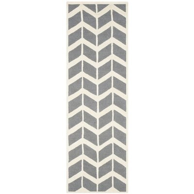 Martins Hand-Woven Wool Dark Gray/Ivory Area Rug Rug Size: Runner 26 x 8