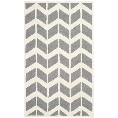 Martins Dark Gray/Ivory Area Rug Rug Size: 3 x 5