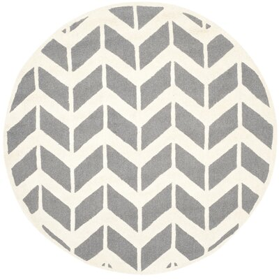 Martins Hand-Woven Wool Dark Gray/Ivory Area Rug Rug Size: Round 6