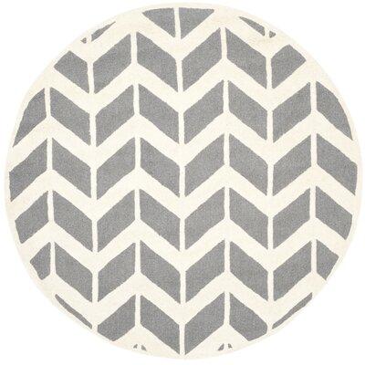Martins H-Woven Wool Dark Gray Area Rug Rug Size: Round 6