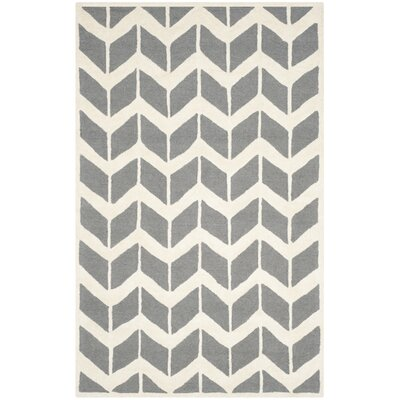 Martins Dark Gray/Ivory Area Rug Rug Size: 4 x 6