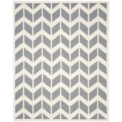 Martins Dark Gray/Ivory Area Rug Rug Size: 9 x 12