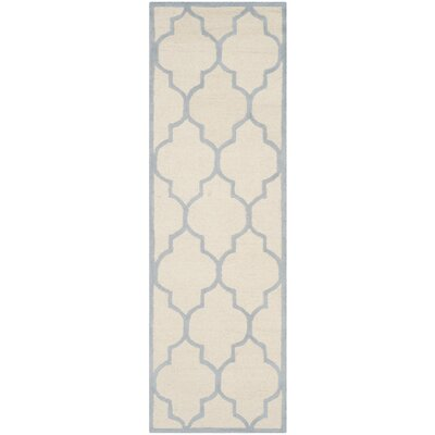Charlenne Ivory/Light Blue Area Rug Rug Size: Runner 26 x 8