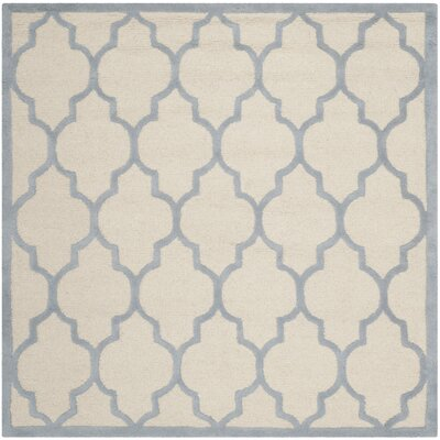 Charlenne Ivory/Light Blue Area Rug Rug Size: Square 6