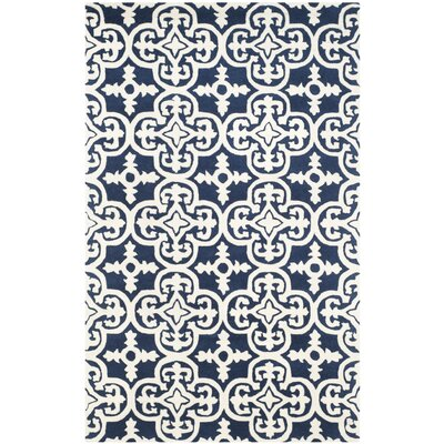 Wilkin Dark Blue/Ivory Area Rug Rug Size: Rectangle 3' x 5'