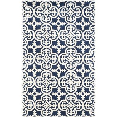 Wilkin Dark Blue/Ivory Area Rug Rug Size: 5 x 8