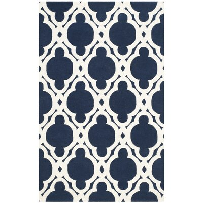 Wilkin Dark Blue/Ivory Area Rug Rug Size: Rectangle 3 x 5