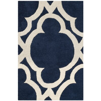 Wilkin Dark Blue/Ivory Area Rug Rug Size: Rectangle 2' x 3'