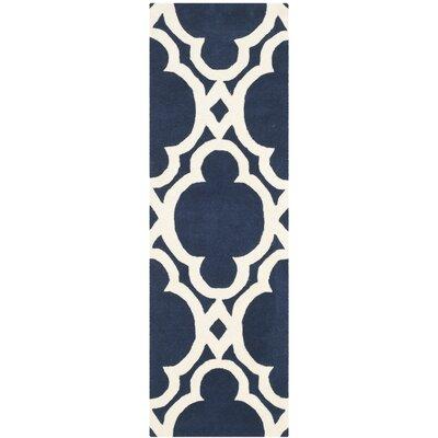 Wilkin Dark Blue/Ivory Area Rug Rug Size: Runner 23 x 7