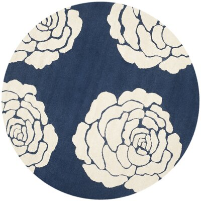 Martins Navy/Ivory Area Rug Rug Size: Round 6