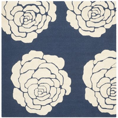 Martins Navy/Ivory Area Rug Rug Size: Square 6