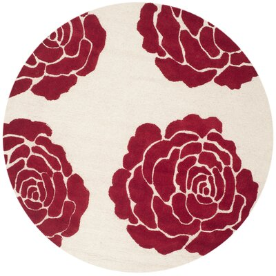 Martins Ivory/Red Area Rug Rug Size: Round 6'