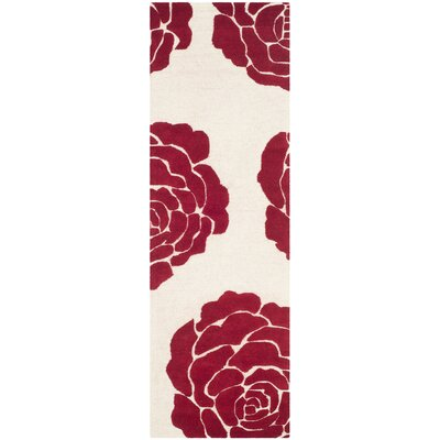 Martins Ivory/Red Area Rug Rug Size: Runner 26 x 8
