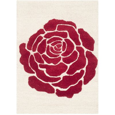 Martins Ivory/Red Area Rug Rug Size: 3 x 5