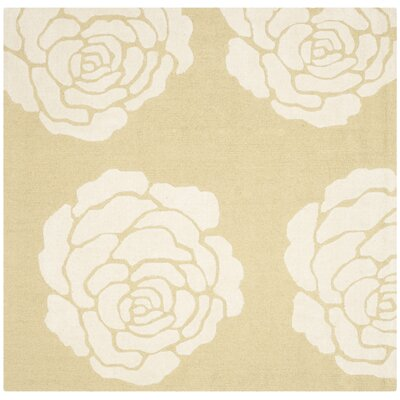Martins Light Gold/Ivory Area Rug Rug Size: Square 6