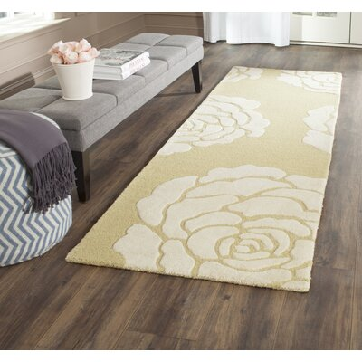 Martins Light Gold/Ivory Area Rug Rug Size: Runner 26 x 8