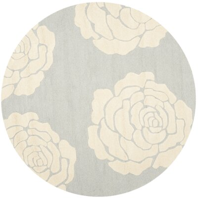 Martins Gray/Ivory Area Rug Rug Size: Round 6