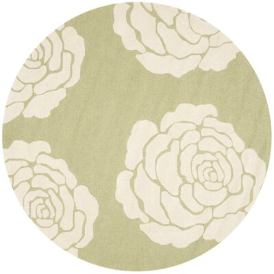 Martins Lime/Ivory Area Rug Rug Size: Round 6
