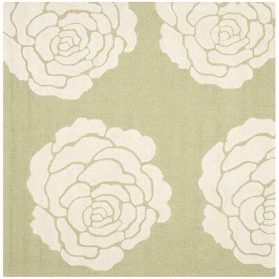 Martins Lime/Ivory Area Rug Rug Size: Square 6