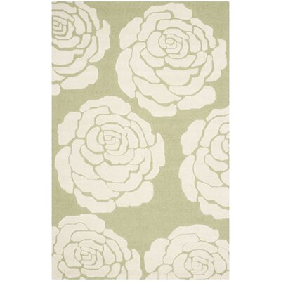 Martins Lime/Ivory Area Rug Rug Size: 4 x 6