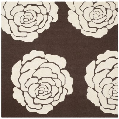 Martins Brown/Ivory Area Rug Rug Size: Square 6