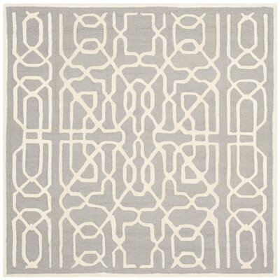 Martins Silver / Ivory Area Rug Rug Size: Square 6