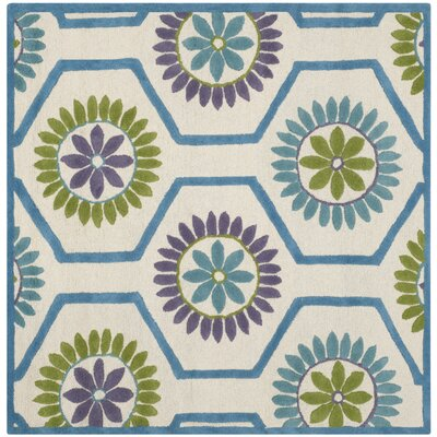 Martins Ivory / Blue Area Rug Rug Size: Square 6