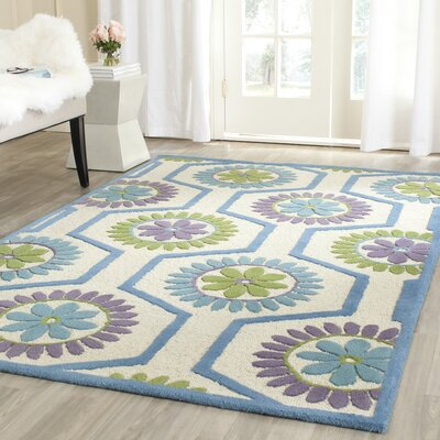 Martins Ivory / Blue Area Rug Rug Size: Rectangle 3 x 5