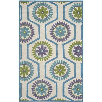 Martins Ivory / Blue Area Rug Rug Size: 4 x 6