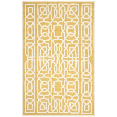 Martins Gold / Ivory Area Rug Rug Size: Rectangle 6 x 9