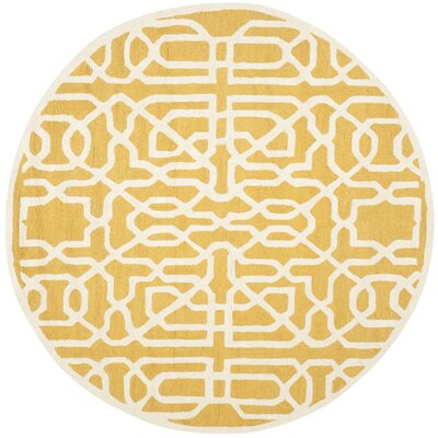 Martins Gold / Ivory Area Rug Rug Size: Round 6