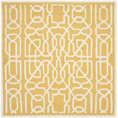 Martins Gold / Ivory Area Rug Rug Size: Square 6