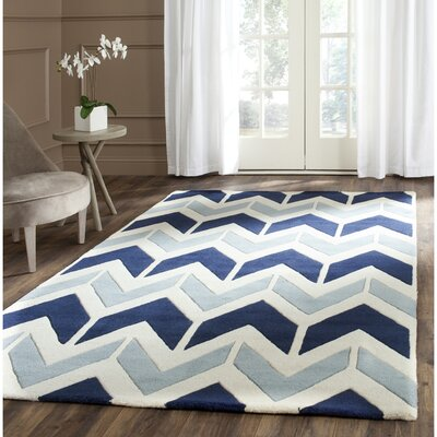 Wilkin Dark Blue / Light Blue Area Rug Rug Size: Rectangle 3 x 5