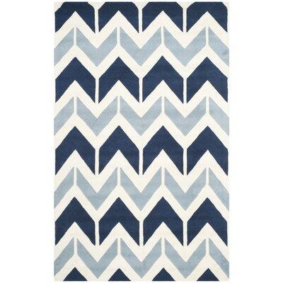 Wilkin Dark Blue / Light Blue Area Rug Rug Size: 5 x 8