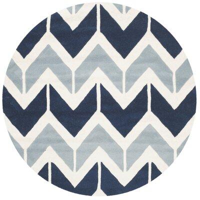 Wilkin Dark Blue / Light Blue Area Rug Rug Size: Round 5