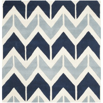 Wilkin Dark Blue / Light Blue Area Rug Rug Size: Square 5