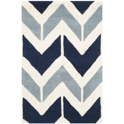 Wilkin Dark Blue / Light Blue Area Rug Rug Size: 2 x 3