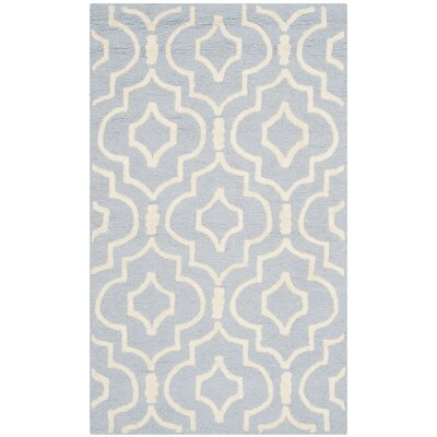 Martins Hand-Tufted Light Blue/Ivory Area Rug Rug Size: Rectangle 3 x 5