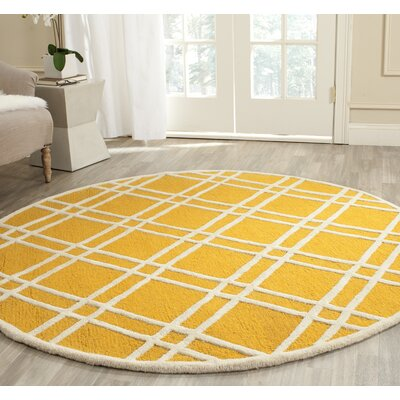 Martins Gold / Ivory Area Rug Rug Size: Round 6'