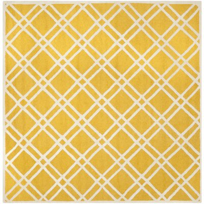 Martins Gold / Ivory Area Rug Rug Size: Square 8