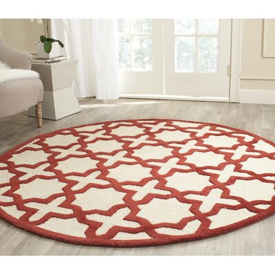 Martins Ivory / Rust Area Rug Rug Size: Round 6'
